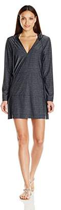 Jag Women's Spacey Solids Long Sleeve Cover Up with Hood,M