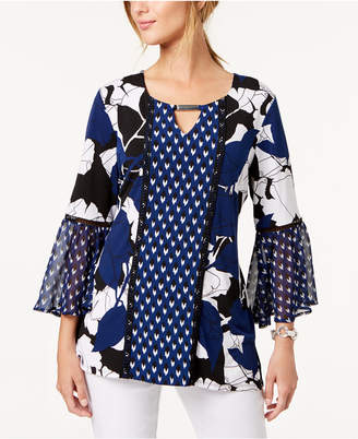 JM Collection Mixed-Print Tunic, Created for Macy's