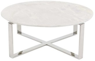 3.1 Phillip Lim DecMode Round White Marble Coffee Table w/ Silver Stainless Steel Modern Base