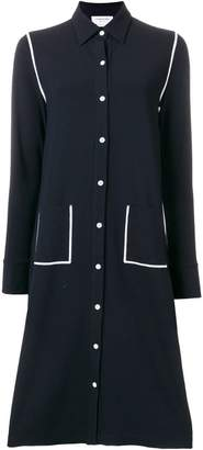 Thom Browne Contrast Cover-Stitched A-line Shirtdress In Milano Tech