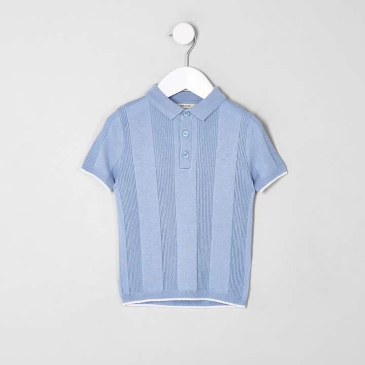 Mini boys RI Blue wide ribbed polo shirt