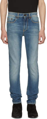 Saint Laurent Blue 70s Low-Rise Skinny Jeans