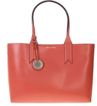 7566a878275c Emporio Armani Coral Shopper In Faux Leather With Logo Charm