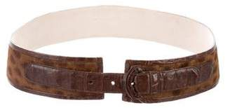 Nancy Gonzalez Crocodile-Trimmed Waist Belt