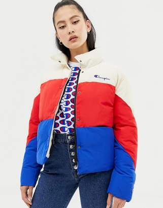 Champion padded jacket with embroidered chest logo in color block