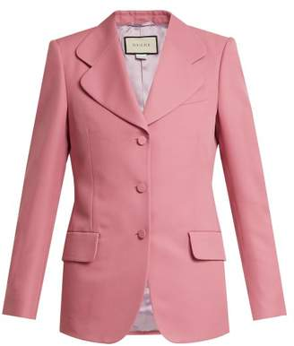 Gucci Single Breasted Curved Notch Lapel Blazer - Womens - Pink