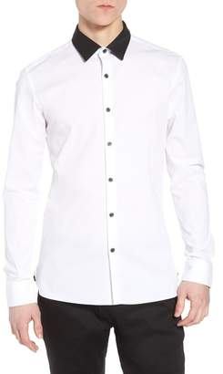 Topman Muscle Fit Contrast Collar Sport Shirt