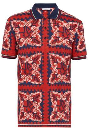 Valentino Bandana Print Cotton Polo Shirt - Mens - Red Multi