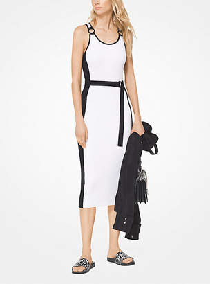 Michael Kors Contrast Stripe Ribbed Knit Dress