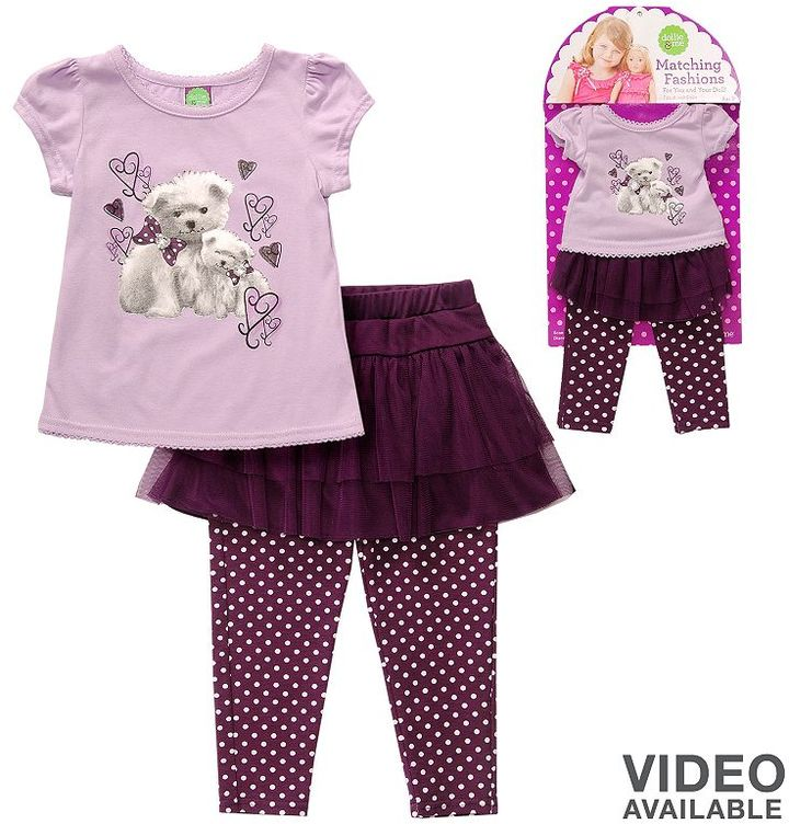Dollie & Me Dollie and me dog tee and skirted leggings set - toddler