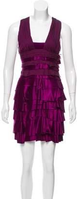 Versace Satin Ruffle-Accented Mini Dress