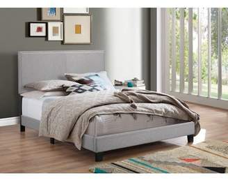 Crown Mark Erin Gray Upholstered Bed with Nail Head Trim