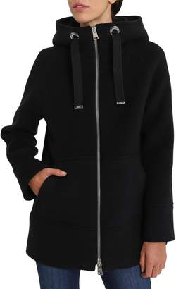 Herno Wool Short Coat With Hood And Zipper