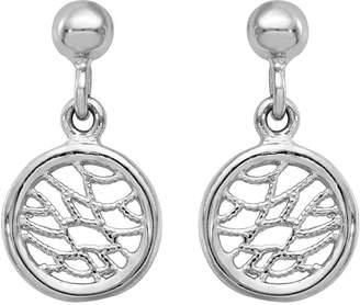 Italian Silver Web Pattern Circle Dangle Earrings, Sterling