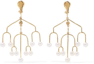 Aurelie Bidermann Siroco Gold-plated Freshwater Pearl Clip Earrings
