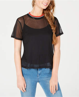 Ultra Flirt by Ikeddi Juniors' Sheer Short-Sleeve Top