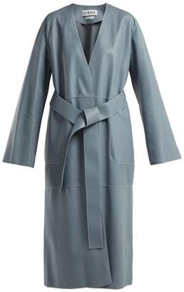 Loewe Belted Leather Coat - Womens - Blue