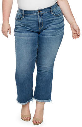 A.N.A Raw-Edge Cropped Flare Jeans - Plus