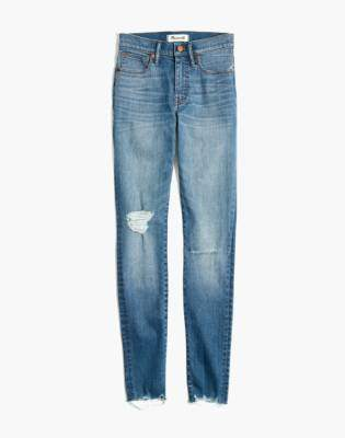 "Madewell Petite 9"" High-Rise Skinny Jeans in Frankie Wash: Torn-Knee Edition"