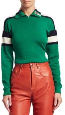 Gucci High Neck Wool SIlk Cashmere Stripe Detail Sweater