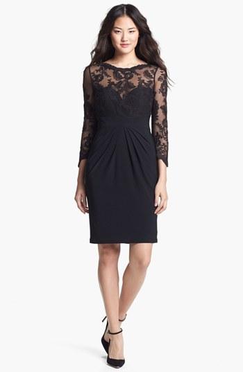 Monique Lhuillier ML Illusion Lace & Jersey Sheath Dress