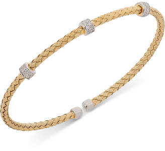 Giani Bernini Round Cz Weave Bangle Stack Bracelet in Sterling Silver, 18K Gold-Plated or Rose Gold-Plated Sterling Silver, Created for Macy's