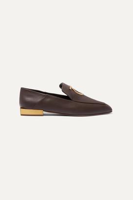 Salvatore Ferragamo Lana Embellished Leather Collapsible-heel Loafers - Dark brown