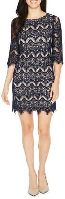 Ronni Nicole 3/4 Sleeve Lace Waves Shift Dress