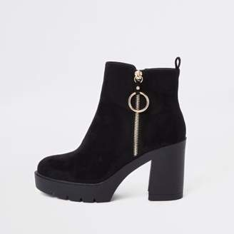 River Island Black zip side chunky boots