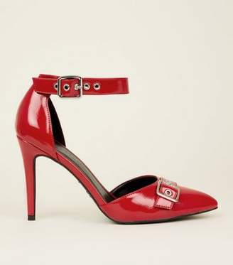 6fcb46b47a4c New Look Red Patent Buckle Strap Pointed Courts