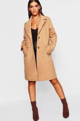 boohoo Button Through Wool Look Coat