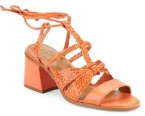 Halston H Piper Leather Block Heel Sandals