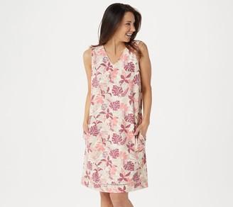 Denim & Co. French Terry Printed V-Neck Beach Dress