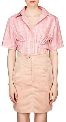 Isabel Marant Women's Emily Plaid Organza Fitted Blouse - Pink