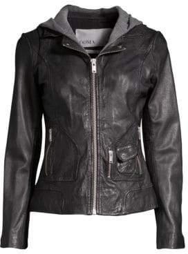 Doma Hooded Leather Moto Jacket