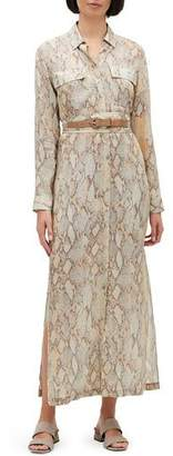 Lafayette 148 New York Plus Size Doha Sindewinder Snake-Print Long-Sleeve Belted Dress