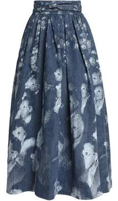 Marc Jacobs Pleated Printed Denim Maxi Wrap Skirt