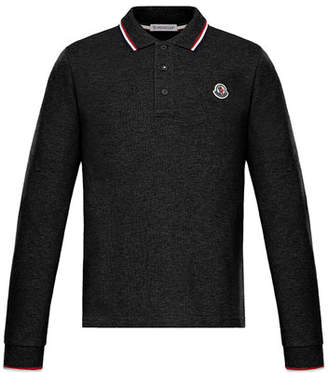 Moncler Long-Sleeve Polo w/ Striped Tipping, Size 4-6