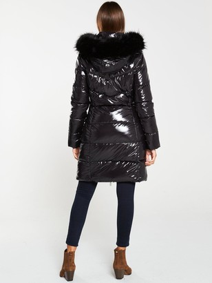 Very Long High Shine Padded Coat with Faux Fur Trim - Black