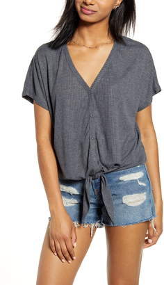 BP Button Front Knot Hem Tee