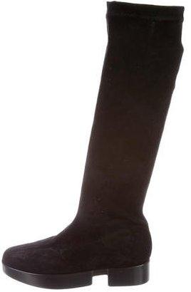 Robert Clergerie Suede Platform Mid-Calf Boots $150 thestylecure.com