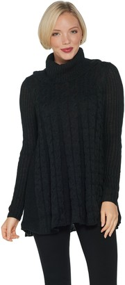 Denim & Co. Petite Cable Knit Cowl-Neck Tunic Sweater