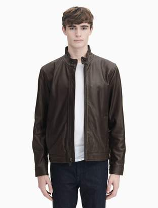 Calvin Klein leather tab collar jacket
