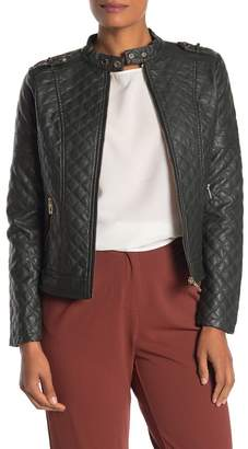 Coffee Shop Studded Quilted Moto Faux Leather Jacket
