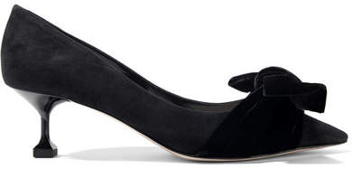 Miu Miu - Bow-embellished Suede And Velvet Pumps - Black