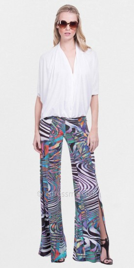 Kay Unger Julian Chang Omega Slit Seam Wide Leg Pants