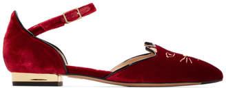 Charlotte Olympia Red Velvet Mid-Century Kitty DOrsay Flats