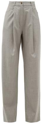 Natasha Zinko Pleated Waist Wool Blend Trousers - Womens - Grey