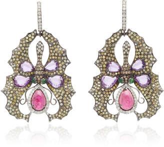 Wendy Yue 18K Gold Sapphire Rubellite Diamond And Tsavorite Earrings
