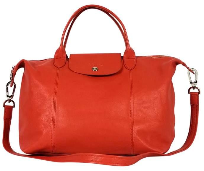 Longchamp Orange Le Pliage Cuir Bag - ORANGE - STYLE